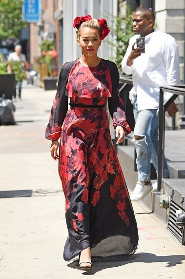 Rita Ora looks stunning in a red floral dress as she steps out in Tribeca, NYC, New York. Pictured: Rita Ora  Ref: SPL1326687  290716   Picture by: Splash News Splash News and Pictures Los Angeles:310-821-2666 New York:212-619-2666 London:870-934-2666 photodesk@splashnews.com